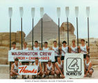 University of Washington Varsity Crew at the Pyramids and Great Sphinx at Giza during their trip...