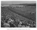 Crowd in stands at Husky Stadium during Washington Relay Carnival, University of Washington, 1927