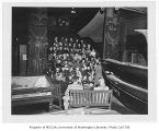 Third grade students viewing exhibits inside Burke Museum (Washington State Museum), University of...