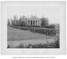 Military cadets drilling in front of Music Pavilion, University of Washington, ca. 1914