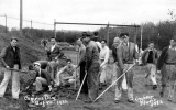 1932 Campus Day showing students involved in groundskeeping activities, University of Washington