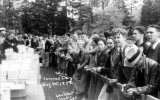 1932 Campus Day showing a crowd of students behind a barricade, University of Washington