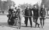 1921 Campus Day showing students with groundskeeping equipment, University of Washington