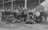 1920 Campus Day showing students with groundskeeping equipment probably in Denny Field, University...