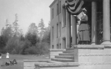 1917 Campus Day showing a woman, probably Bertha Landes, orating, University of Washington