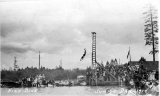 Junior Day showing a student diving and onlookers, University of Washington, 1914