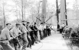 1911 Campus Day showing students raising the Territorial University columns, University of...