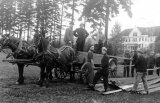 1912 Campus Day showing students taking lumber from a horse-drawn cart, University of Washington