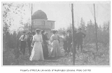 Esther Livesey and friends near Observatory, University of Washington, ca. 1907