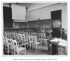 Administration Building (now Denny Hall) interior showing Department  of Physics lecture room,...