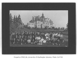 Spanish class posing below Administration Building (now Denny Hall), University of Washington, ca....