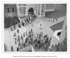 Students engaged in civil defense alert drill, Liberal Arts Quadrangle,  University of Washington,...