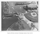 Conibear Shellhouse, Edmundson Pavilion and playing fields, aerial view from northeast, University...