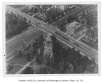 Chimes Tower, aerial view, University of Washington, ca. 1923