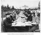 1906 Campus Day showing students eating lunch, University of Washington
