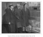 Three men at plaque ceremony for the Art Building, University of Washington, March 6, 1951