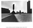 Broken Obelisk statue on Central Plaza (Red Square), University of Washington, ca. 1971