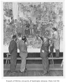 Ernest Norling and three men looking at mural in Husky Union Building (HUB), University of...