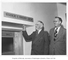 Herbert Condon with President Raymond Allen at Herbert T. Condon Room in Husky Union Building...