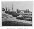 Campus grounds with old Engineering Hall in background, University of Washington, n.d.