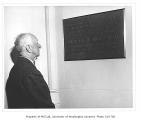 Winlock Miller with Miller Hall dedication plaque, University of Washington, 1954