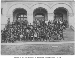 1905 Campus Day showing students on Denny Hall steps, University of Washington