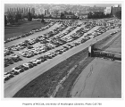 Southeast campus parking lot near stadium entrance, University of Washington, October 1956