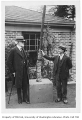 Edmond Meany and Ludwig Metzger with elm tree, University of Washington, April 6, 1931