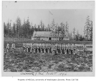 Military cadets training in front of gymnasium and armory, University of Washington, 1896