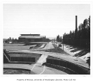 Edmundson Pavilion, tennis courts and Montlake Boulevard from Montlake Landfill, looking...