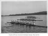 Crews posed for start of race, University of Washington, 1925