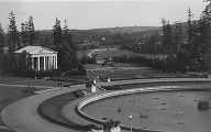 View of Alaska-Yukon-Pacific Exposition Music Pavilion building, Geyser Basin fountain, and...