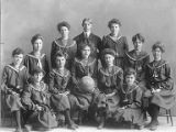 Group portrait of women's sports team with team member Jessie Merrick, n.d.