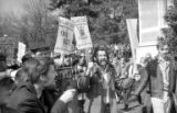 Cal Winslow and other protesters being filmed during Students for a Democratic Society (SDS) rally...