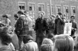 Barbara Winslow and other protesters standing in front of Husky Union Building (HUB) during...