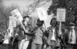 Cal Winslow and other protesters marching through campus during Students for a Democratic Society...