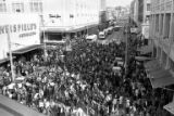 Crowd of protesters on 5th Ave. between Weisfield's Jewelers and Frederick & Nelson during the...