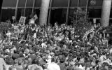 Crowd of protesters gathered in front of Central Library during the Vietnam Moratorium...