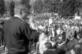 Arthur Melville (?) speaking to crowd of protesters during Students for a Democratic Society (SDS)...