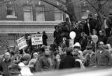 Crowds at a Moratorium March against the Vietnam War in downtown Seattle, November 1969