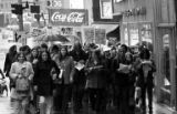 Crowd marching in Seattle supporting the Black Panther Party, December 13, 1969