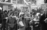 Crowd marching in Seattle in support of the Black Panther Party, December 13, 1969