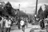 Crowd marching from the University of Washington campus through Seattle in response to the Kent...