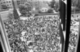 Bird's-eye view of rally on the University of Washington campus in response to the Kent State...