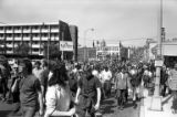 Crowd marching in Seattle in response to the Kent State shootings, May 5, 1970
