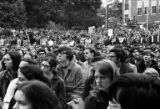 Crowd gathered at the University of Washington campus in response to the Kent State shootings, May...