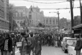 Crowd marching from the University of Washington campus in response to the Kent State shootings,...