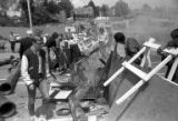 People inspecting barricades after a protest at the University of Washington, May 7, 1970
