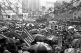 Protestors gathering in downtown Seattle in the rain in response to the Kent State shootings, May...