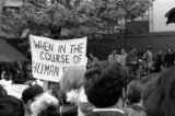 Protestors with banner gathering in downtown Seattle in response to the Kent State shootings, May...